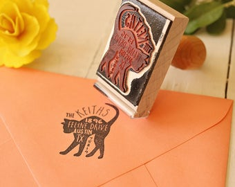Cat Return Address Stamp - Custom Feline Rubber Stamp - Personalized Pet Address Stamp - Cat Silhouette