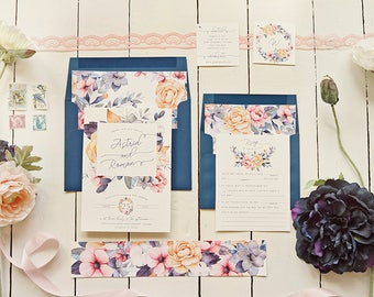 Pastel Floral Wedding Invitation Set - Navy Blooms Printable Suite for a Garden Wedding - Watercolor Wedding Invites - Printable or Printed