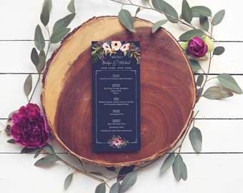 Floral Navy Wedding Menus - Vintage Boho Wedding Menus - Printable or Printed - Watercolor Menus