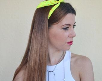Neon Yellow Gift, Dolly Bow Headband, Wire Headband, Hair Accessory, Pinup Headband, Girl Headband,  Top Knot Headband, Dolly Bows, Headband