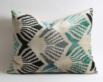 velvet pillow cover, toss pillow, pillow covers, ikat velvet, silk pillow, sofa pillow, pillow case, velvet pillows, cushion, couch pillows