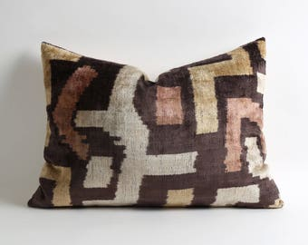 Brown cream white decorative silk velvet ikat pillow cover // handwoven hand dyed brown velvet pillows