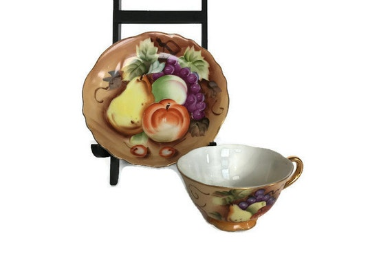 Lefton cup and saucer vintage hand painted fruit tea set gold gild trim