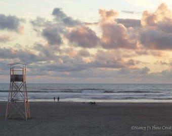 Pastel Art Print, Beach Decor, Lifeguard Tower Photo, Peach Sunset Photography, Coastal Wall Art, Lavender Ocean Print, Beach Gift, Seascape