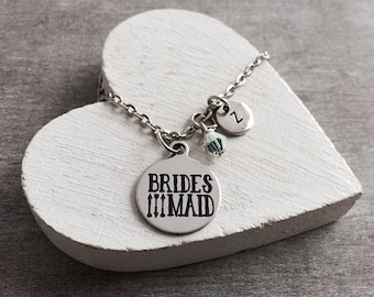 Bridesmaid, Bridesmaid Jewelry, Will you be my, Bridesmaid Necklace, Customized, Personalized, Silver Necklace, Charm Necklace, Gifts for