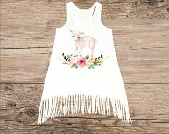 Lamb Dress for Baby, Toddler Dress, Fringe Tank Top Dress