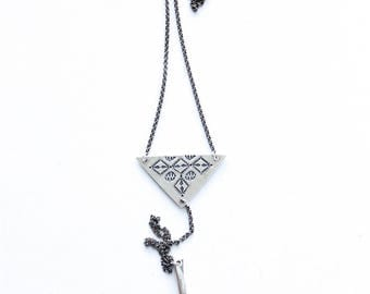 Stamped Sterling Silver and Fork Tine Necklace