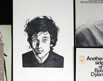 Bob Dylan Portrait '60s - Original Relief Print - Black ink on A4