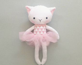 Cat rag doll - Plush cat toy- Handmade cat doll - Cuddly toy - plush doll - Cloth Doll - Fabric Cat Doll -  Stuffed doll - with a tutu.