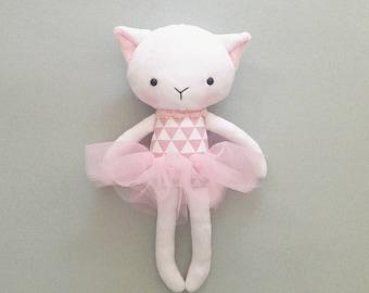 Cat rag doll - Plush cat toy- Handmade cat doll - Cuddly toy - plush doll - Cloth Doll - Fabric Cat Doll -  Stuffed doll - with a tutu.