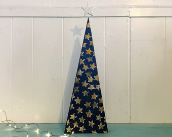 Blue Gold Star Wooden Christmas Table Mantel Tree Decor