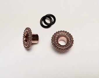 Rose Gold Double Beaded Gauged Earrings/Plugs