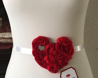 Red Heart Maternity Sash -(Coming Soon Tag)- Valentine's Day!
