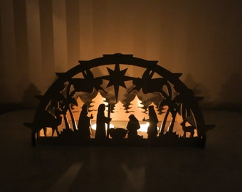 Nativity scene, Christmas decoration, manger scene, christmas decoration, christmas light decoration, wooden candlestick, christmas ornament