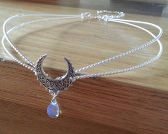 Silver Crescent tiara medieval elven circlet in Sterling plated metal and opalite moonstone