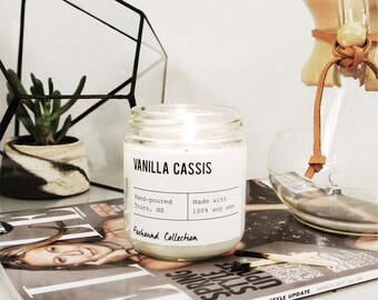 Vanilla Cassis scented candle | hand poured, natural soy wax | Foxhound Collection | Candles, Soy Candle Gift Idea Home Decor
