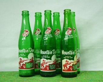 Vintage 6-pack Mountain Dew - Soda Bottle Collector Set - Green Pop Bottles - Green Glass Bottles - 1960s RARE - Herb & Ruby