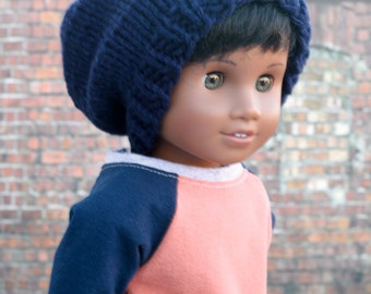 AG Doll Clothes | Navy Blue Hand Knitted Slouch Slouchy HAT for 18 Inch Dolls such as American Girl