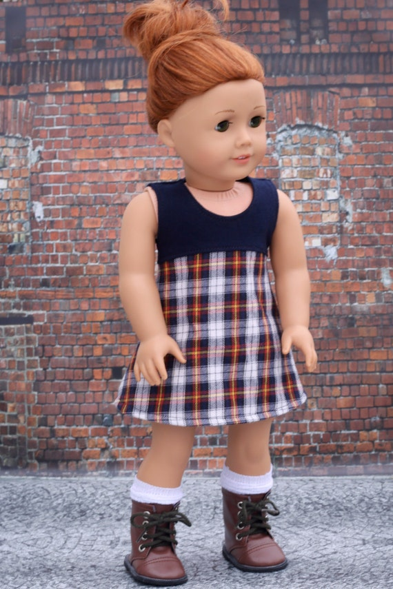 American Made Doll Clothes - Navy Plaid Sleeveless A Line DRESS for 18 Inch