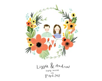 Personalised Couple Wedding Gift illustration