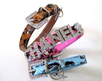 XS Dog Collar | Extra Small Dog Collar | Bling Dog Collar | Personalized | Leopard Dog Collar