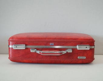 Vintage Red Suitcase - American Tourister Luggage - Wedding Card Suitcase
