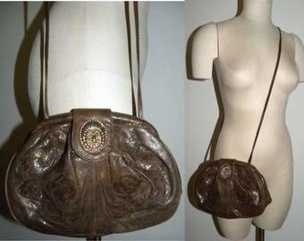 1980s 80s Leather Purse / Snake Skin Stamp Pouch / GLAM PUNK Avant Garde / ViVa California shoulder bag / Vintage