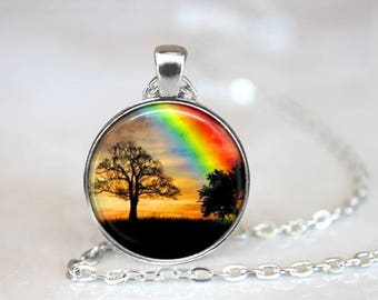 Rainbow & Trees Pendant Necklace Nature Jewelry Handcrafted One Inch Pendant