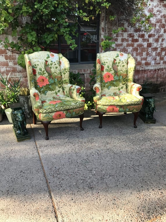 Vintage Pair of Matching Mid Century Henredon Colorful Green Velvet Floral and Pheasant (or Peacock) Wingback Chairs