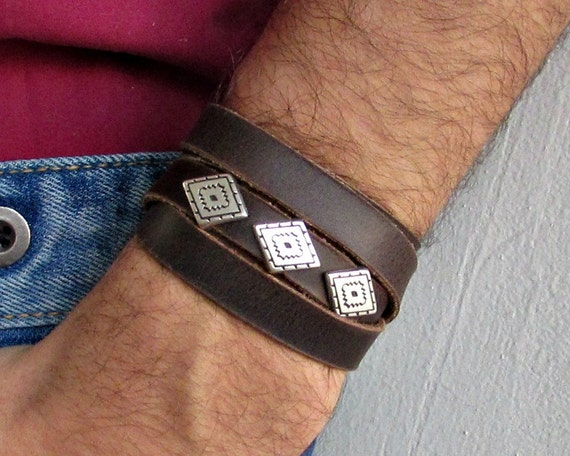 Rhombus Mens Leather Wrap Bracelet Cuff, Geometric Unisex Bracelet, Adjustable to your wrist
