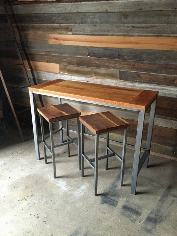 Wood Pub Table with Industrial Metal Base