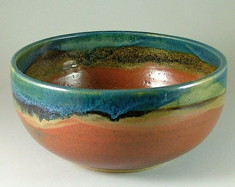 DISCOUNTED 25%**    Wheel-Thrown Pottery Bowl - Brick Red with Glossy Teal Blue / Pottery Serving Bowl / Pottery Fruit Bowl