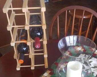 WINE RACK, Wood Counter Top/Floor Wine Rack,12 Bottle Wine Rack, Natural Wood Wine Rack , Housewarming Gift, Barware