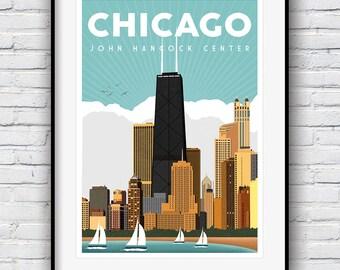 Chicago Print, Chicago Skyline, Travel Poster, Chicago Poster, Chicago Gifts, John Hancock, City Prints, Retro Poster, Cityscape, Chicago