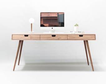 Desk in walnut wood , Bureau , dressing table , office desk, Classic, Mid Century, Modern, Tantik