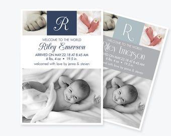 Photo Birth Announcement Invitation PDF Template, Baby Boy Or Girl Monogram Printable Birth Announcement, Baby Announcement, DIY You Print