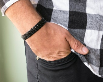 Men's Bracelet - Men's Vegan Bracelet - Men's Faux Leather Bracelet - Men's Jewelry - Men's Gift - Husband Gift - Boyfriend Gift