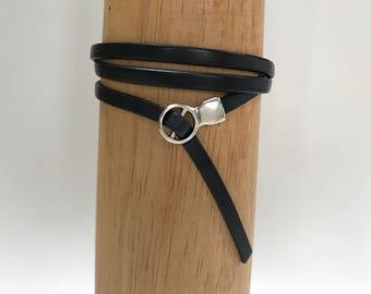 Navy Triple Wrap Leather Bracelet with Fold Over Clasp Leather Bangle, Unisex Leather Bracelet, Women's Leather Bracelet, Navy and Silver