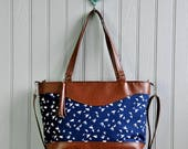 Large Brown Recycled Leather Weekender Bag Shopping Tote Shoulder Cross Body Handbag Purse Nappy Diaper Bag Navy Blue Swallow Bird