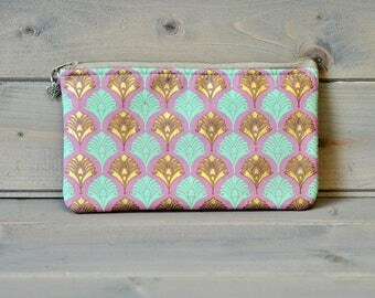 Cotton Pencil Case, Zipped Pouch, Make Up Bag, Small Accessory Bag, Pencil Pouch, Stationery Holder, Coin Purse, Pink Green Gold Feather
