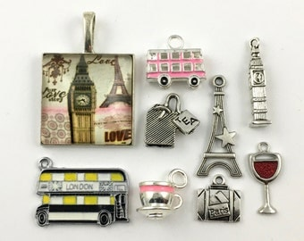 8 London/ Paris charms collection antique silve# ENS A 336