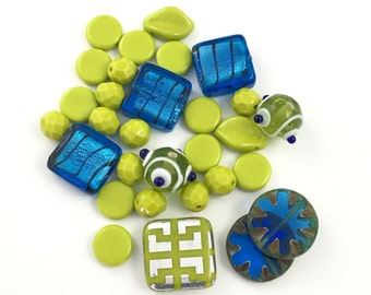 30 mix glass beads,green and blue shades 8mm to 18mm #PV 130
