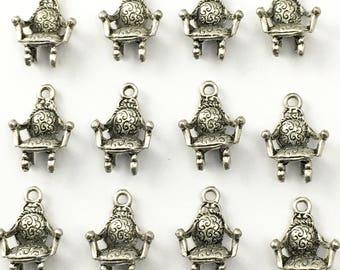 BULK! 16 chair charms silver tone,20mm #CH305