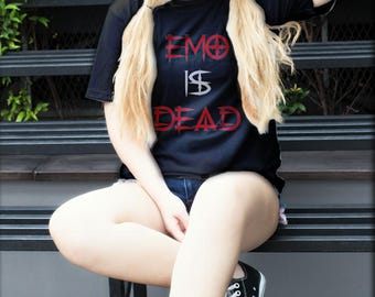 Emo Is Dead Graphic Text Tshirt