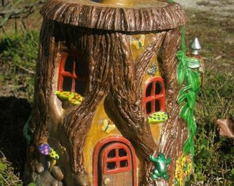 Outdoor fairy house fairy door gifts for her Garden Fairy house decoration Fairy stump house Fairy house planter outdoor fairy decorations