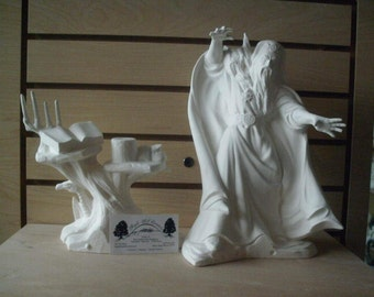 Unpainted Ceramic Wizard spell table dragons Ceramic bisque to paint MADE TO ORDER gifts for him ceramics to paint Fantasy wizard decoration