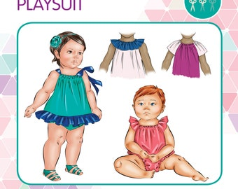 PATTERN Seaside Playsuit/Romper/Sunsuit - PDF Sewing Pattern - Instant Download - Tadah Patterns