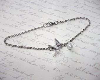 Silver bird anklet / bracelet with pearl