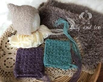 Baby Hat Alpaca Silk/Newborn Pixie Bonnet/Baby Hat Lace Bonnet/Baby Photo Prop/Pixie Bonnet Hat/Alpaca Silk//Ready to Ship