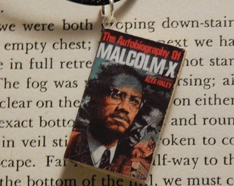 Malcolm X Book Necklace, Brooche, or Keychain